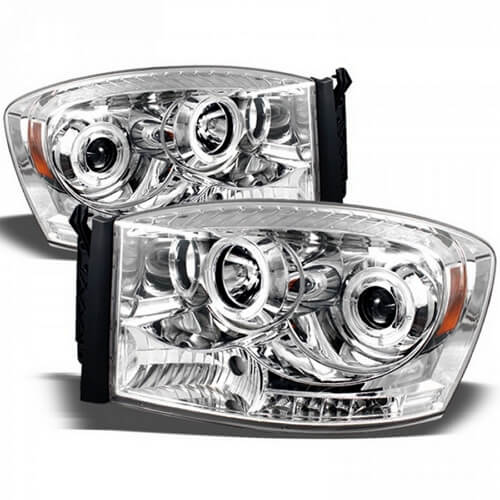 Aftermarket chrome headlights for Dodge Ram 1500