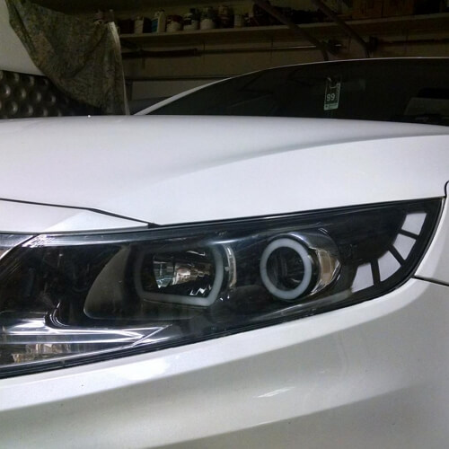 Custom headlights on the Kia Optima
